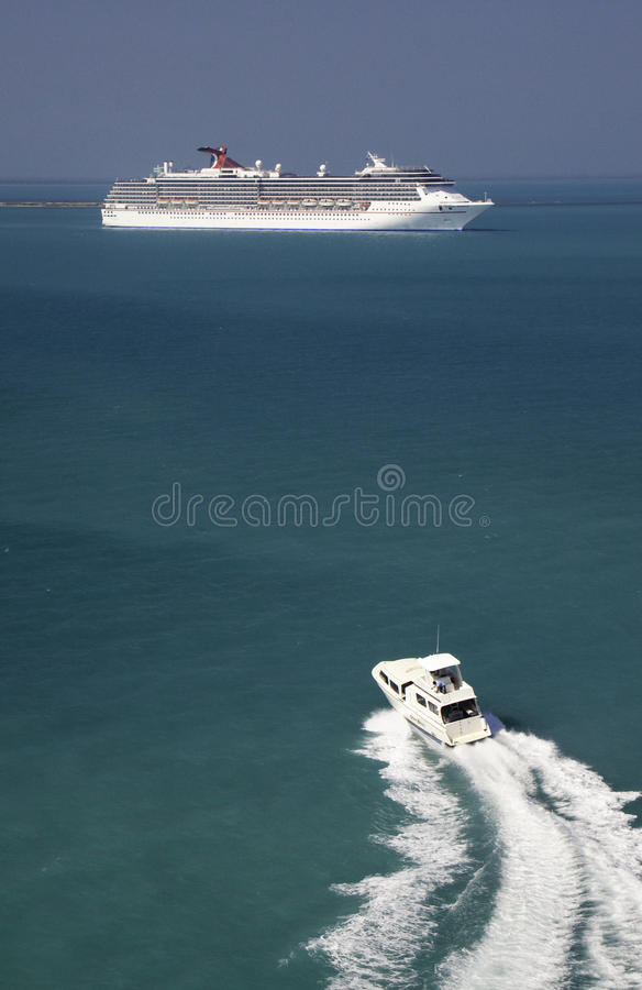 Cruise Ship and Tender Boat in Belize