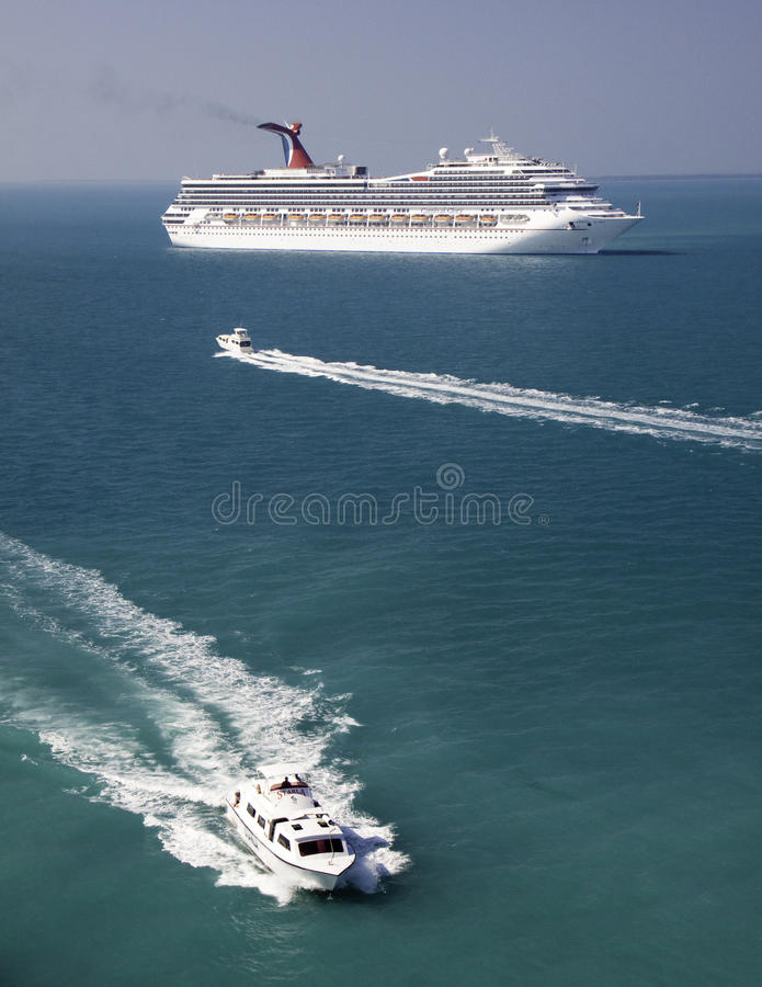 Cruise Ship and Tender Boats in Belize