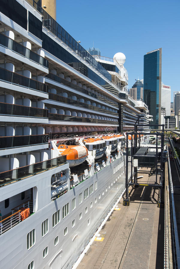 Cruise ship tied up to the wharf royalty free stock photography