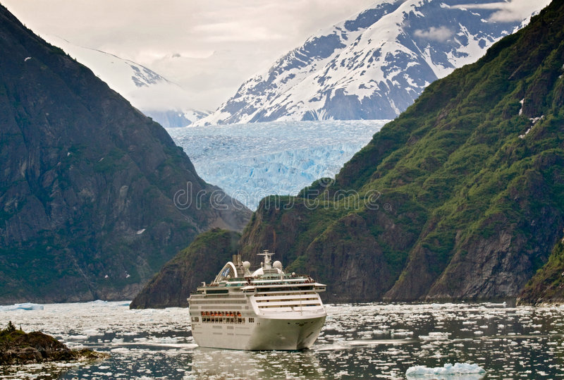 Cruise ship in Tracy Arm Fjord, Alaska stock photography
