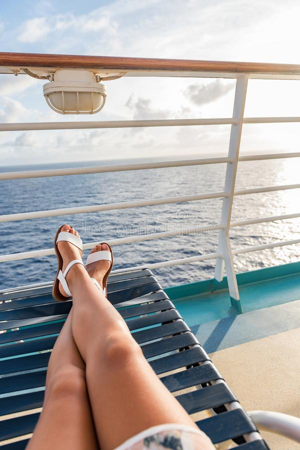 Free Cruise Ship Travel Woman Relaxing Legs On Deck Royalty Free Stock Photos - 160159478