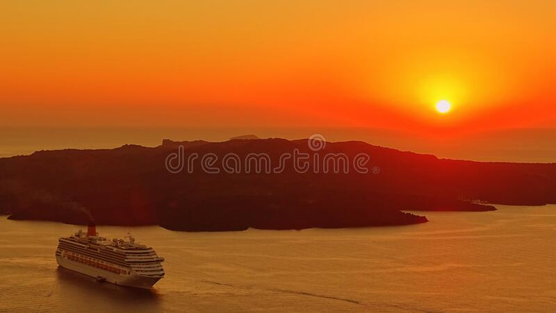 Cruise Ship Traveling On Body Of Water Near Island During Golden Hour Free Public Domain Cc0 Image