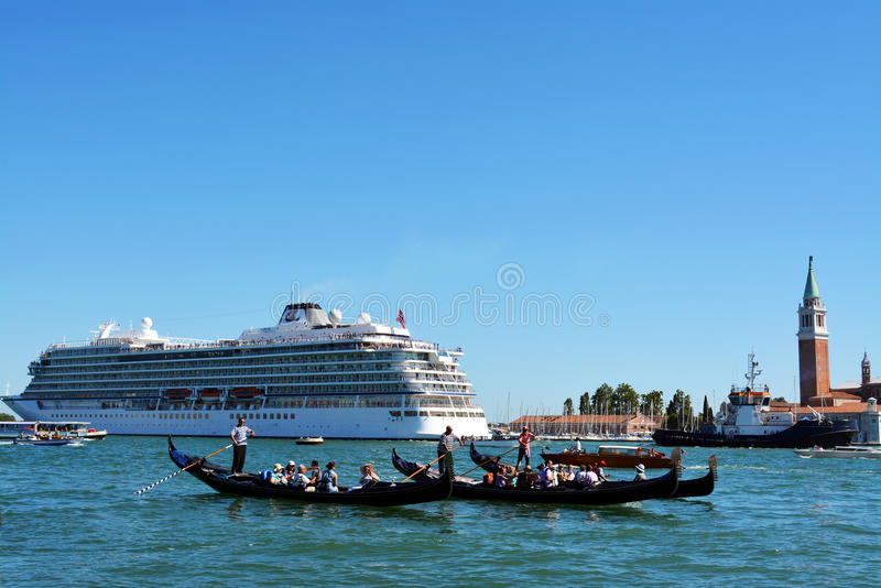 Cruise Ship in Venice, Italy royalty free stock photography