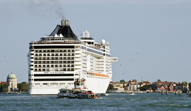 Cruise ship in Venice. Cruise liners passing through Venice. The size and number of cruise ships passing through Venice will be limited from the start of 2014 stock photo