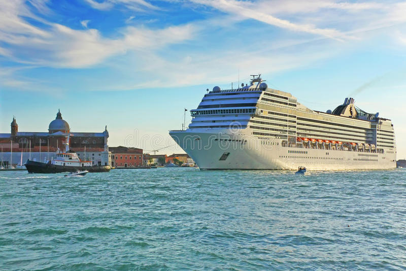 Cruise ship in Venice at sunset. (Italy royalty free stock image