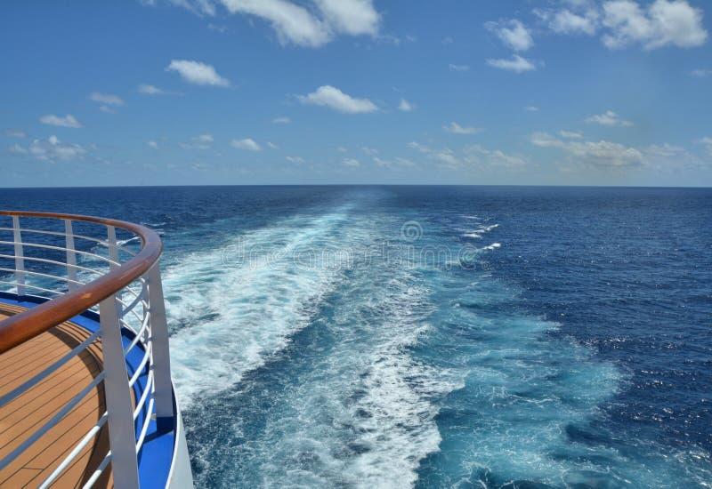 Cruise ship wake. On the Caribbean Sea stock photo