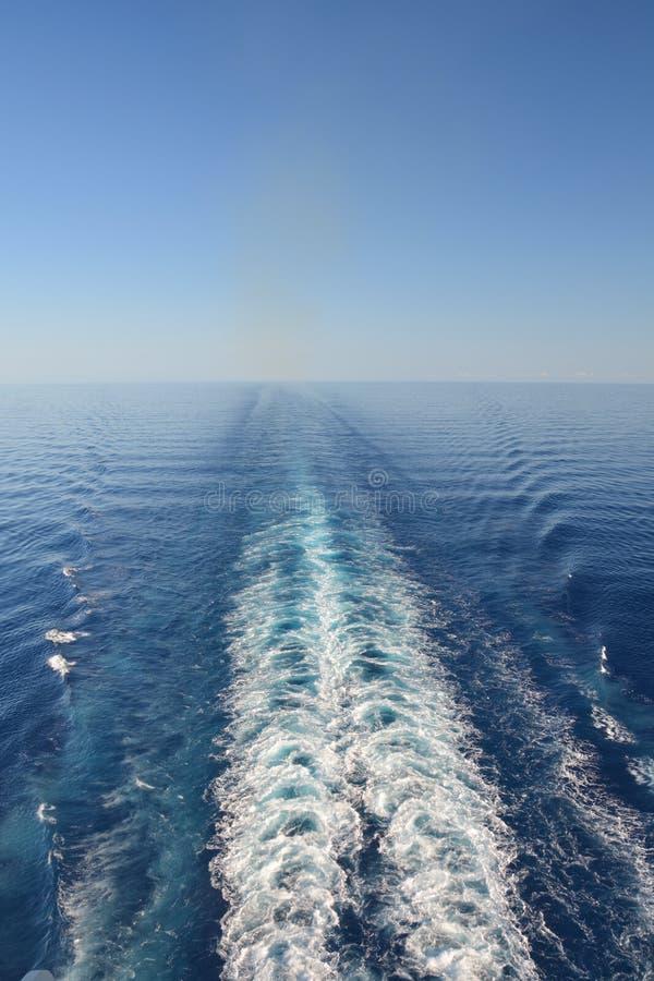 Cruise ship wake. On the Caribbean Sea stock photos