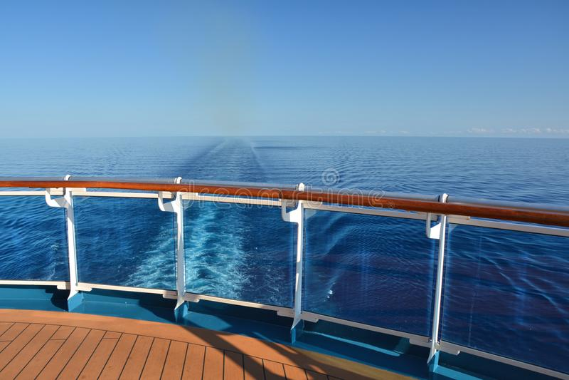 Cruise ship wake. Cruise ship stern and wake on the sea stock image
