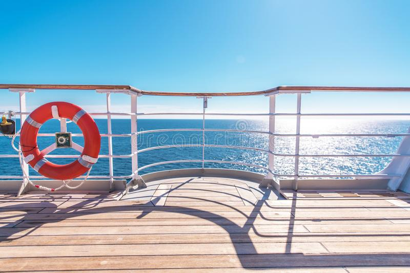 Cruise Ship Wooden Deck. And Lifebuoy Ling. Ocean Liner Theme stock image