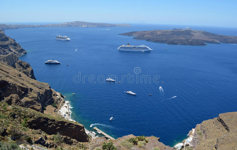 Cruise Ships in the Caldera stock images