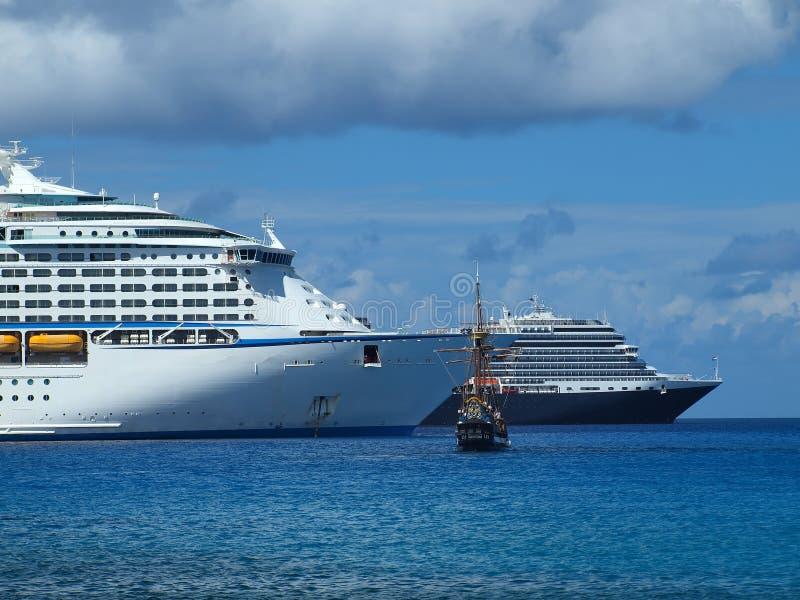 Cruise Ships Caribbean royalty free stock photo