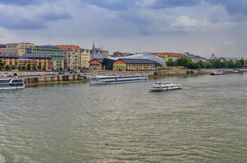 Cruise ships on Danube stock photos