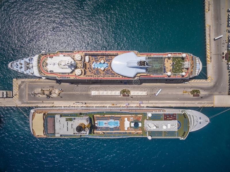 Cruise ships docked at the port of Corfu Greece. Aerial view. Transportation stock image