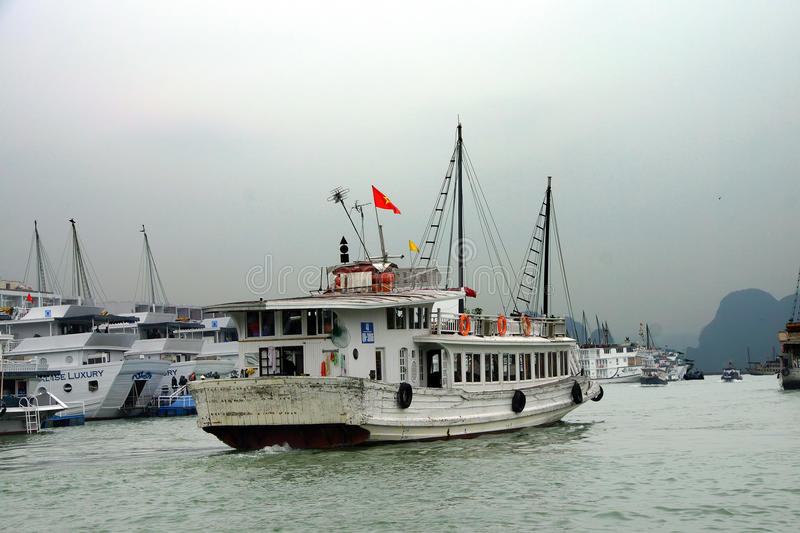 Cruise ships in Haiphong harbor royalty free stock images