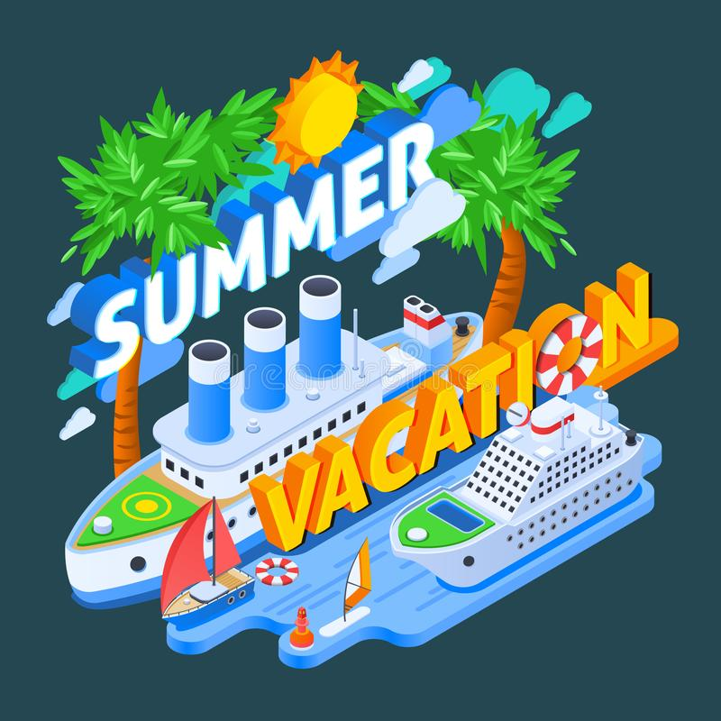 Cruise Ships Isometric Composition royalty free illustration