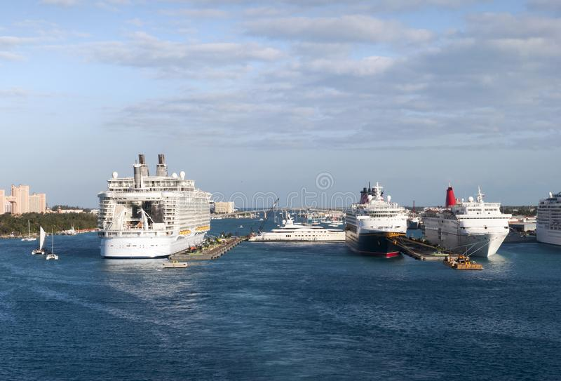 Cruise Ships In Nassau royalty free stock photos