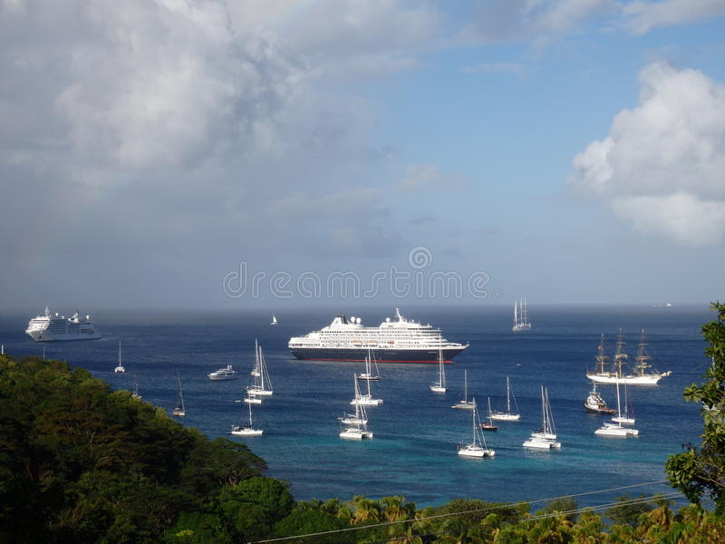 Cruise ships on new year's eve royalty free stock photo