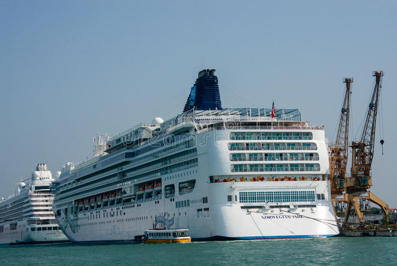 Cruise ships Norwegian Jade and Crystal Serenity in Venice royalty free stock image