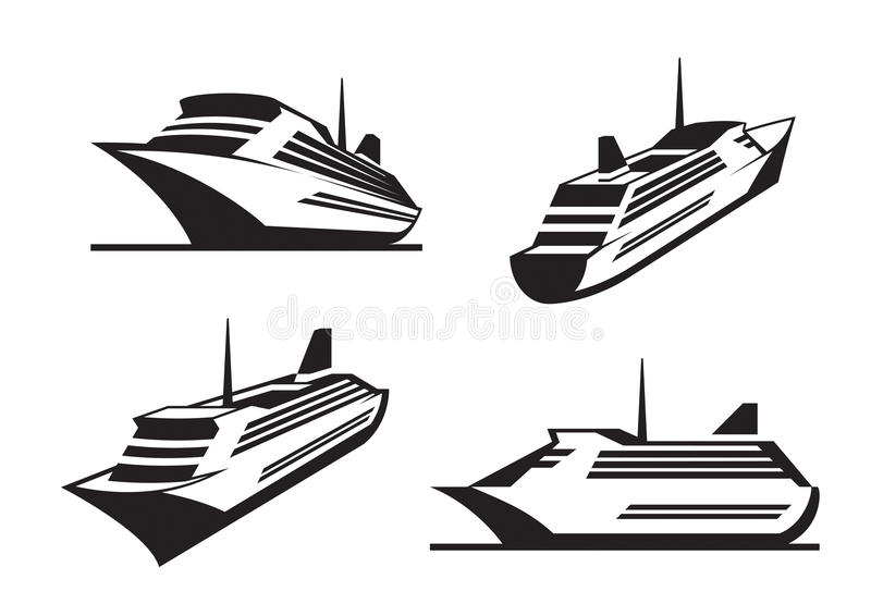 Cruise ships in perspective. Vector illustration royalty free illustration