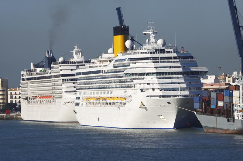Cruise Ships in port stock image