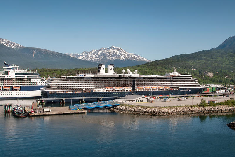 Cruise Ships in Skagway stock photo