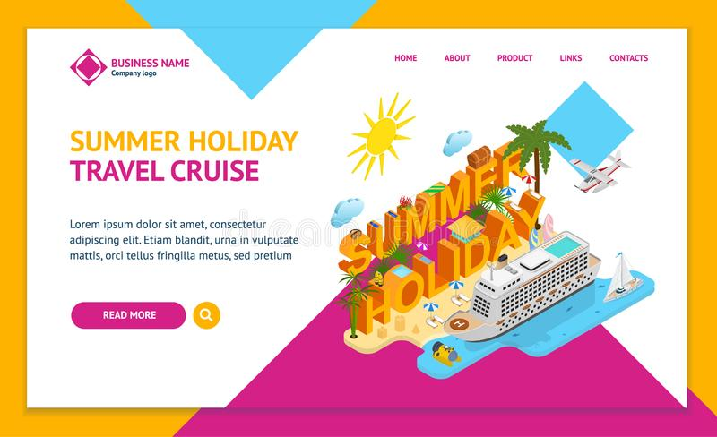 Cruise Ships Travel and Tourism Concept Landing Web Page Template 3d Isometric View. Vector royalty free illustration