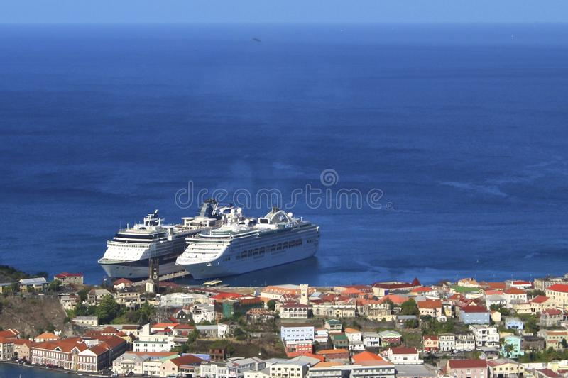 Cruise ships in Trinidad, Caribbean royalty free stock images