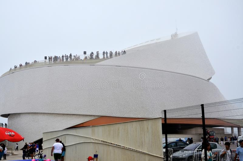 Cruise terminal of Matosinhos in Portugal. Details of the modern architecture of the cruise terminal of Matosinhos in Portugal stock image