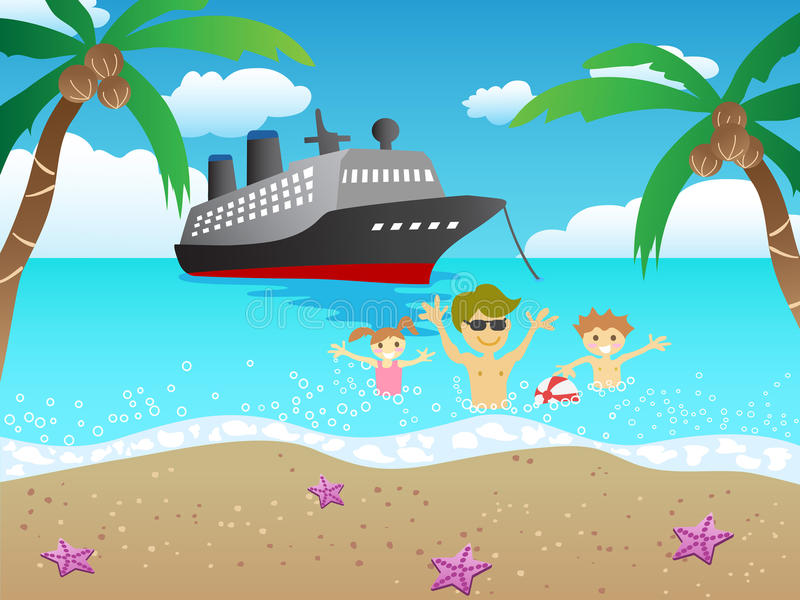Cruise to beach royalty free illustration