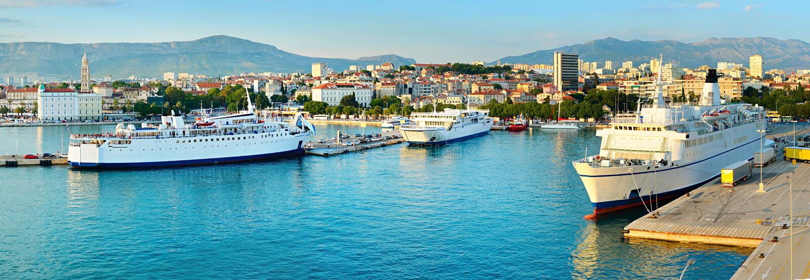 Cruise to Croatia. Port of Split at sunset. Panoramic view. Croatia stock photo