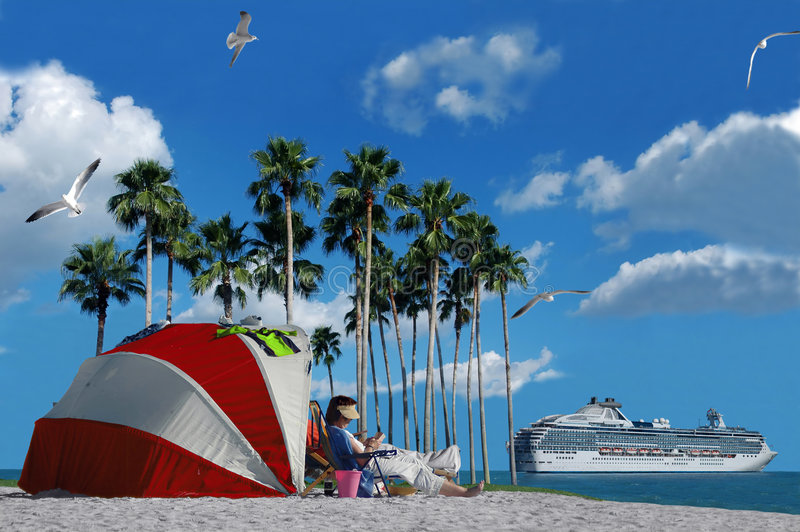 Cruise Vacation. A cruise ship and a person relaxing on the beach (vacation and holiday royalty free stock photo