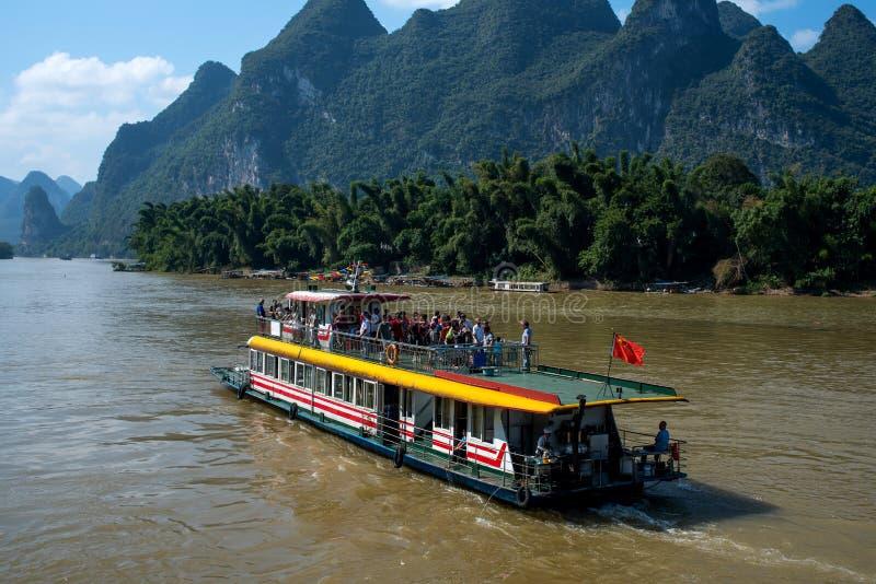 Cruise van Guilin aan Yangshuo stock afbeelding