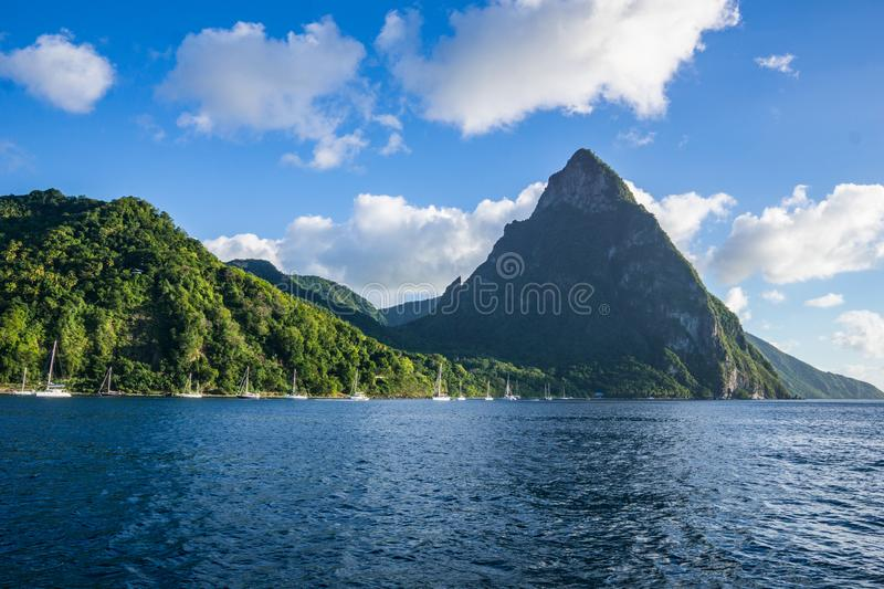 View of Pitons from the water stock photos