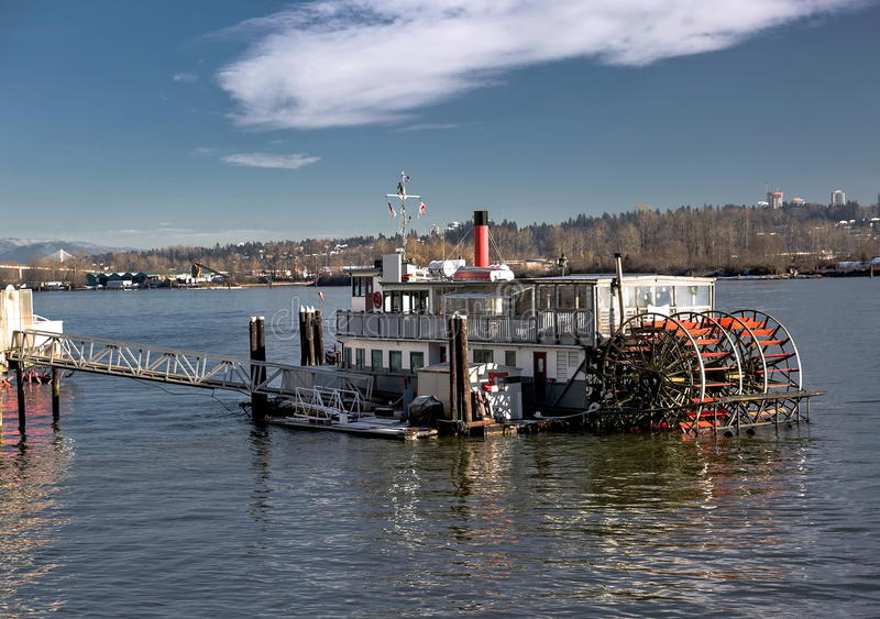 Cruise wheeled boat. On the quay of Fraser River royalty free stock photo