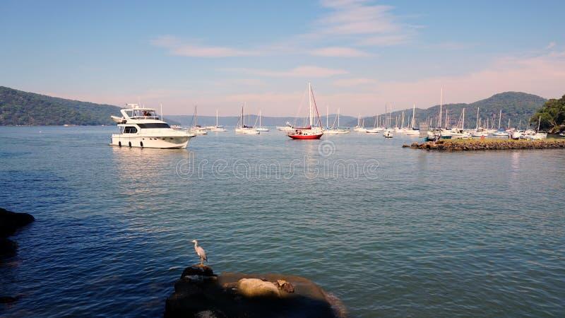 Cruiseboot die Jachthaven ingaan royalty-vrije stock afbeelding