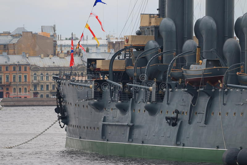Cruiser Aurora. Left board closeup stock photo
