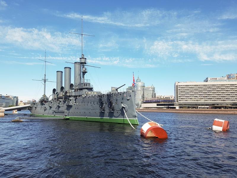 The cruiser Aurora. Is an object of cultural heritage of the Russian Federation. One of the main symbols of the October Revolution. St. Petersburg, Russia, June stock photography