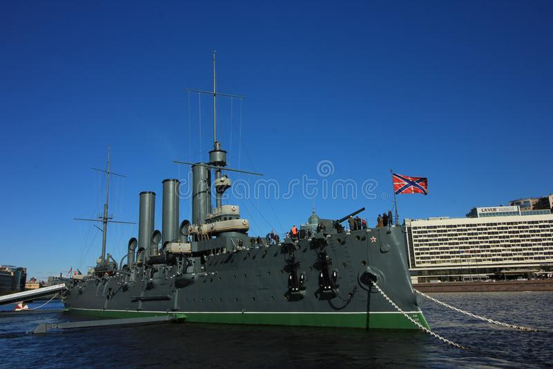 The cruiser Aurora is one of the well-known places to see in Saint Petersburg, Russia. The cruiser Aurora was built between 1897 and 1900 at the Admiralty royalty free stock image