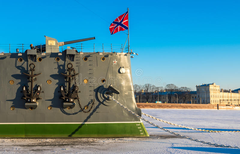 Linear cruiser Aurora, the symbol of the October revolution, Saint Petersburg, Russia royalty free stock image