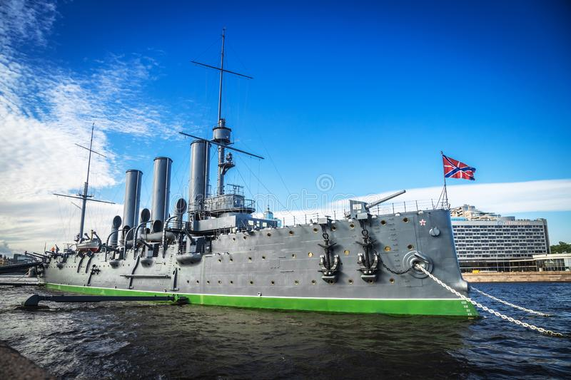 Cruiser Aurora, symbol of revolution, on her mooring place, bright sunny day royalty free stock image