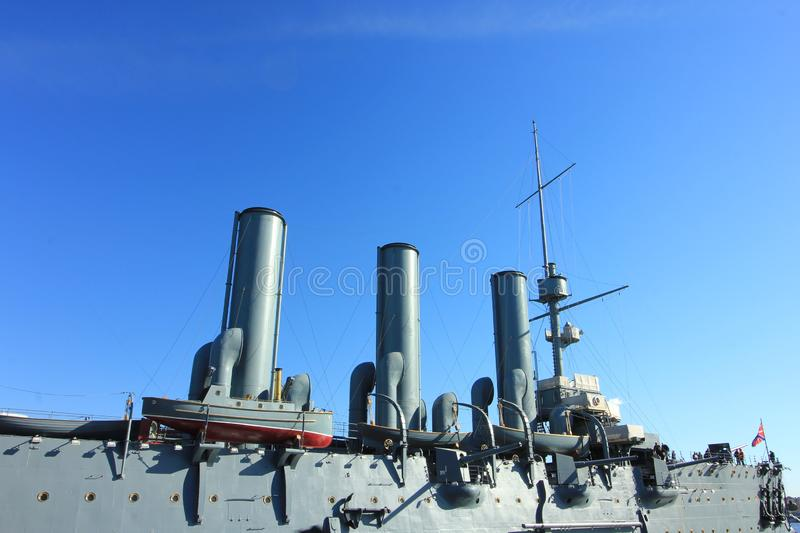 The cruiser Aurora is one of the well-known places to see in Saint Petersburg, Russia. The cruiser Aurora was built between 1897 and 1900 at the Admiralty stock photo
