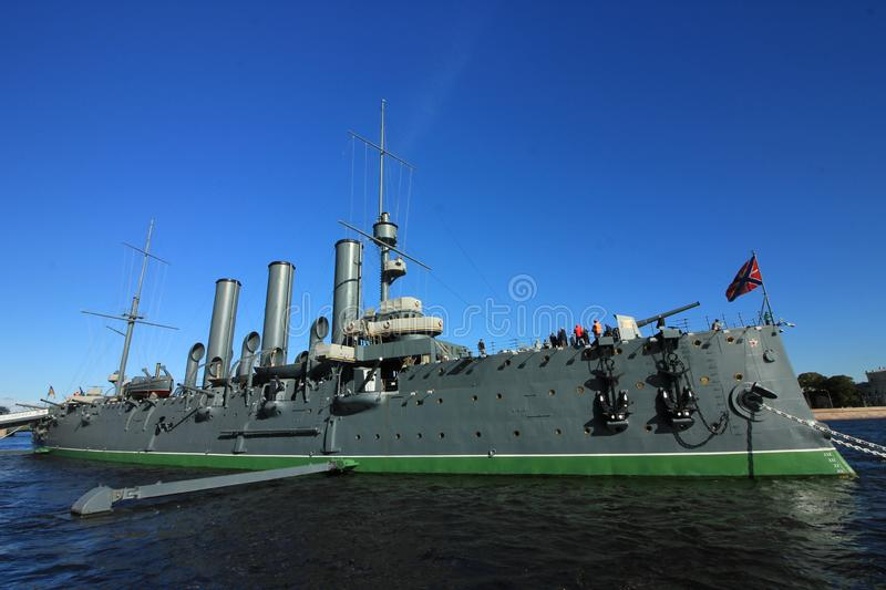 The cruiser Aurora is one of the well-known places to see in Saint Petersburg, Russia. The cruiser Aurora was built between 1897 and 1900 at the Admiralty royalty free stock images