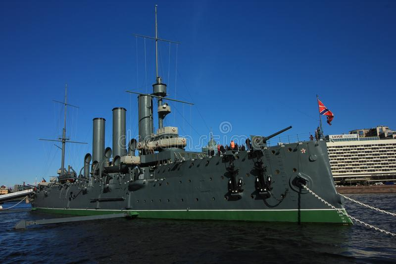 The cruiser Aurora is one of the well-known places to see in Saint Petersburg, Russia. The cruiser Aurora was built between 1897 and 1900 at the Admiralty royalty free stock photo