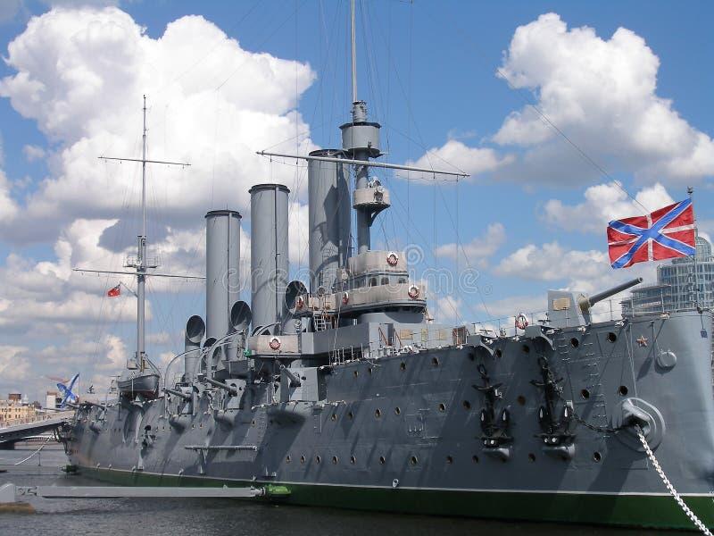 Cruiser Avrora. In the city Sankt-Peterburg royalty free stock photography