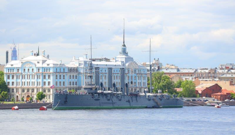 The cruiser Avrora. Cruiser Avrora Petrogradskaya embankment St. Petersburg Russia stock photos
