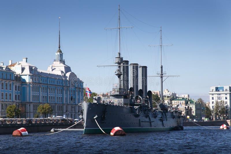 Cruiser Avrora. In the Saint-Petersburg. Russia stock photos