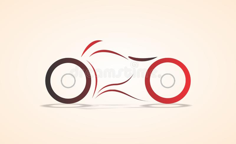 Cruiser bike minimal abstract angular curve design/sketch colored vector illustration stock image