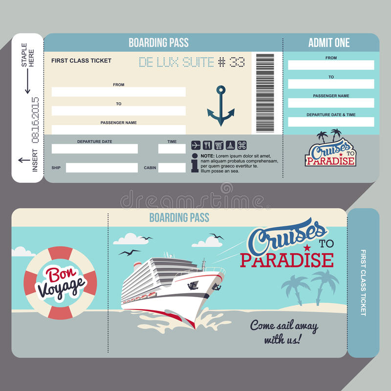 Cruises to Paradise boarding pass design. Cruises to Paradise. Cruise ship boarding pass flat graphic design template. Face and back side