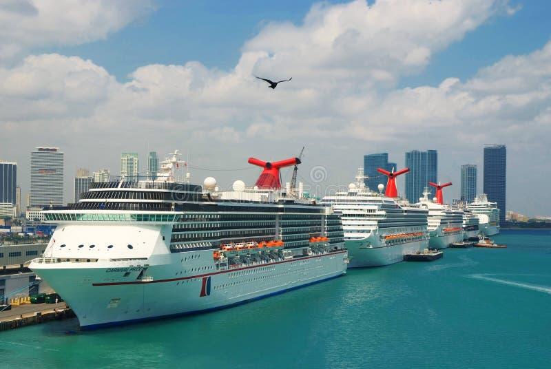 Cruiseschepen bij haven van Miami stock afbeelding