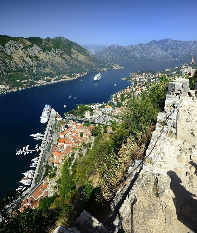 Cruiseschip in de fjord royalty-vrije stock afbeelding